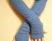 Long Blue Upcycled Fingerless Cashmere Gloves, Soft and Warm Women Armwarmers, recycled Knit Sleeves, Boho Style, Tattoo Covers