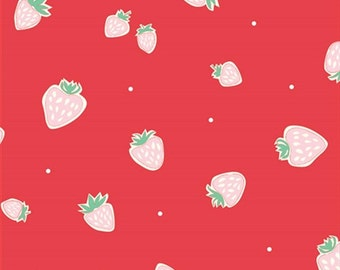 Organic Cotton Fabric- Birch -Everyday Party- STRAWBERRIES red - Great Shipping Rates
