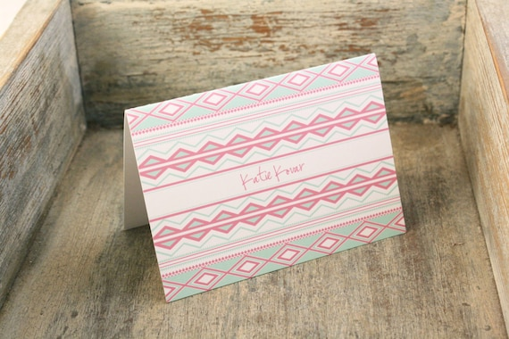 Tribal Personalized Stationery - Personalized Stationary Set of 12 Cards Custom Thank You Notes