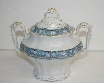 Antique Sugar Bowl, Porcelain, De Terra John Edwards, England, Ophir Pattern, c1880 1909