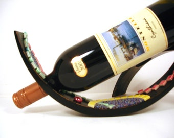 Gift for him or her...Wine bottle holder, romantic dinners, hostess gift, --decorative mosaic holds bottle of wine  TAGT black brown cream