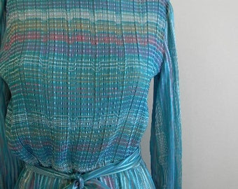 vintage. 70s Turquoise Striped Sheer Dress //M to L