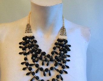 vintage. 70s Cream and Black Beaded Statement Necklace /  Tribal African Necklace
