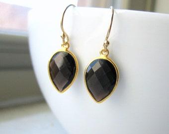 Smoky Quartz Pear Teardrop Earrings - Black Brown - Bezel Set Gold Vermeil Drop - Dangle Earrings