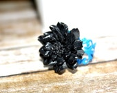 Smoky Black and Royal Blue Adjustable Flower Ring, Filigree Ring, Holiday Accessory, Holiday Gift