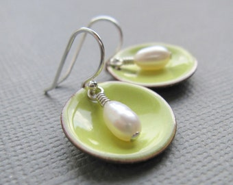 Citron Lemon Yellow Enamel White Pearl Modern Minimalist Circle Earrings