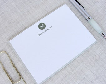 Single Initial Monogram Stationery | Set of 10 Personalized Flat Note Cards | Custom Stationery Set | Gift for Gentlemen Ladies Professional