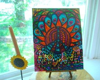 Overflowing Peace, Original Hippie Art, Mandala