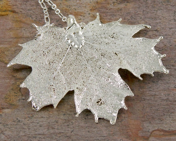 Necklace with Silver Plated Real Maple Leaf Pendant, Silver Canadian Maple Leaf with Swarovski Crystals
