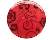 Gigantic Handmade Resin Button - Butterfly Motif on Red with Gold Flecks