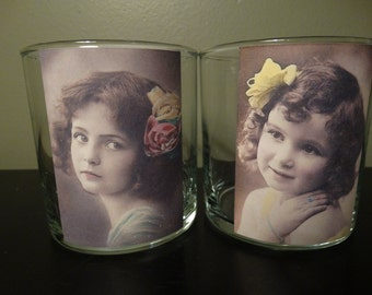 Vintage Inspired Victorian Children votive holder- Set of 2