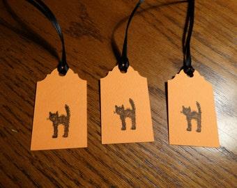 SET of 3 small Halloween BLACK CAT  Hang Tags