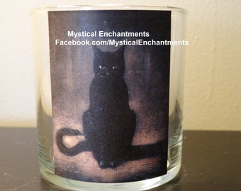 Halloween Witches Familiar Vintage Black Cat votive-tea light holder