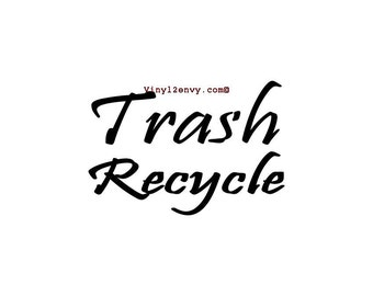 Trash and Recycle Bin Labels Decals - Vinyl Decal Stickers