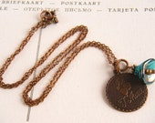 Vintage Style Necklace, French I Love You Necklace, Antique Copper Necklace, Valentine's Day Necklace, Necklace - Love and Teal In Paris