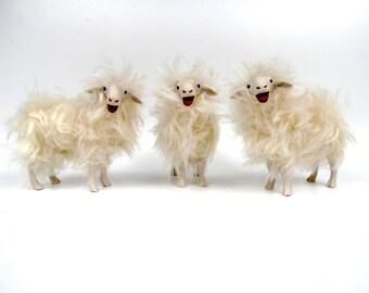 Life Like Sheep Figurines, Sardinian Sheep Figures Baaing, Porcelain and Mohair