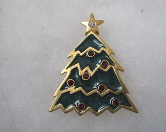 Vintage modern looking enamel Christmas tree brooch pin