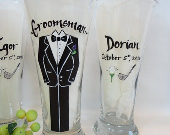Hand Painted Personalized Groomsman GOLF Beer Pilsner Glasses - CUSTOM Tux Style - Groomsman Glasses