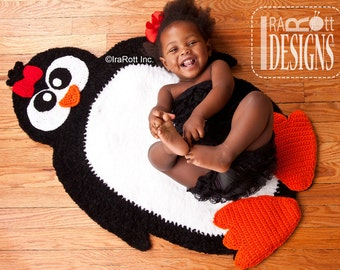 CROCHET PATTERN Floppy Feet Penguin Rug Mat Carpet Crochet PDF Pattern Instant Download