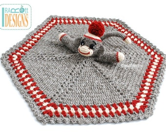 CROCHET PATTERN Classic Sock Monkey Snuggle Blankey Lovey Blanket PDF Crochet Pattern with Instant Download