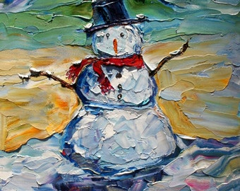 Fine art Print Snowman from image of past oil painting by Karen Tarlton - impressionistic whimsical art