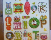 Alphabet 3D Stickers Christmas Theme, Foil embossed. noel,Saanta in sleigh, snowman. 29 stickers