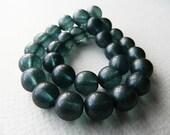Czech Glass Druk Beads, Glass Round Beads, Transparent Glass & Matte Montana Blue Luster (12pcs) NEW