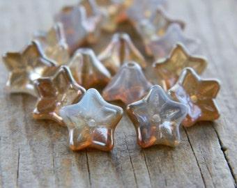 FLOWER Glass beads, Czech glass beads, 5-petal Trumpet Flower beads, 6X9mm, Crystal Opal & Beige/Bronze Luster (12pcs)