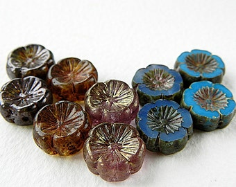 10 Pansy Flower Bead Mix, Large glass flower coin beads, Blue, Amethyst & Brown mix, 14mm  (10pcs) NEW