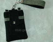 Solid Black Linen and Olive Green / Sage Phone Case Key Fob  Wristlet  or Cognac Brown & Mauve