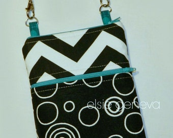 Made to Order Black White Chevron Teal Accents  eReader Tablet  Kindle Touch Nook Cover Sleeve Wristlet Grey Green Butterfly