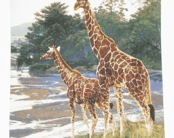 Giraffe and baby at the river mousepad