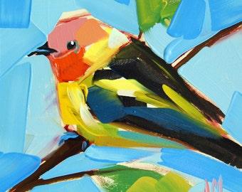 Western Tanager no. 12 Bird Art Print by Angela Moulton prattcreekart 6 x 6 inch