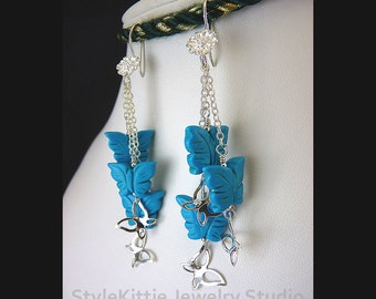 Carved Butterfly Dangle Earrings, Turquoise Magnesite, 925 Sterling Silver, Butterfly Charms, Flower Earwires, Gemstone, Jewelry
