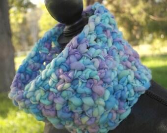 Blue Knit Wool Cowl - Crochet Chunky Neckwarmer - Earwarmer - ON SALE