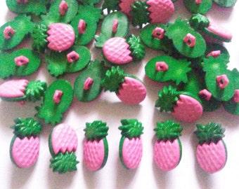 25 pcs Pink Pineapple Shank Button