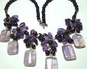 Amethyst Ametrine and Jasper Gemstone Statement Necklace with Sterling