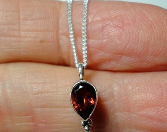 "Garnet Pendant Tiny Red Garnet Teardrop Pendant in Solid Sterling on 16"" Solid Sterling Chain"
