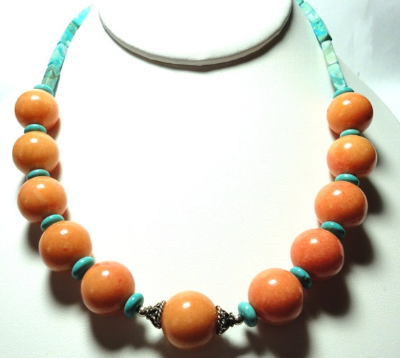 Melon Colored Jasper and Turquoise Rondelle Necklace with Sterling