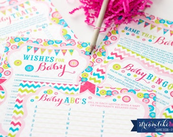 Printable INSTANT DOWNLOAD Baby Shower Games Cute as a Button Baby Girl