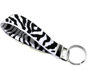 Black & White Zebra Key Fob.  White and Black Stretchy Zebra Print Wrist Key Holder.  Stretch Bracelet Style Key Organizer Fob