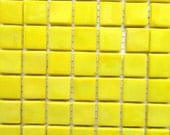 ON SALE 1/2 in. Lemon Yellow Opaque Glass Mosaic Tiles//Mosaic Supplies/ Mosaic//Crafts