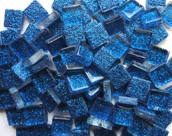 100 MINI Royal Blue Glitter Metallic Glass Tiles//Mosaic Supplies//Crafts