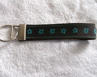 Brown with Blue Flowers Wristlet Key Chain Key Fob