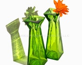 SALE: Taper Candle Holders - Bud Vase -  Recycled Glass - Green