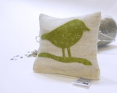 Organic Lavender Sachet in Natural Linen with Chickadee Applique - Meadow Green Chickadee