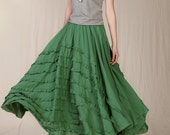 Summer Maxi skirt Long Linen Cascading Skirt in Forest Green(more colour and size choice)-NS13