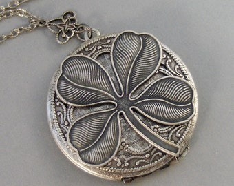 Lucky Amulet,Necklace,Silver Locket,Shamrock,Antique Locket Locket,Clover,Luck,Irish,Lucky, Shamrock,Love,Luck,Good Luck. valleygirldesigns