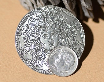 Nickel Silver Classic Medusa 40mm Texture Discs for Pendant or Earrings,  Metalworking Supplies - 2 Pieces