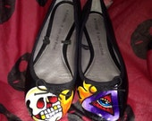 I See You... Dead! Hand painted ballet flat shoes
